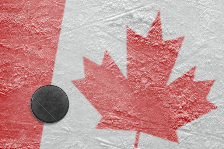 Canadian flag and the puck on the ice